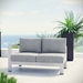 Sarasota Gray Contemporary Outdoor Left Arm Loveseat