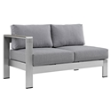 Sarasota Gray Modern Outdoor Left Arm Loveseat