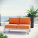 Sarasota Orange Contemporary Outdoor Left Arm Loveseat