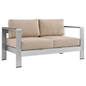 Sarasota Beige Modern Outdoor Loveseat
