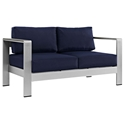 Sarasota Navy Modern Outdoor Loveseat
