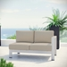 Sarasota Beige Contemporary Outdoor Right Arm Loveseat
