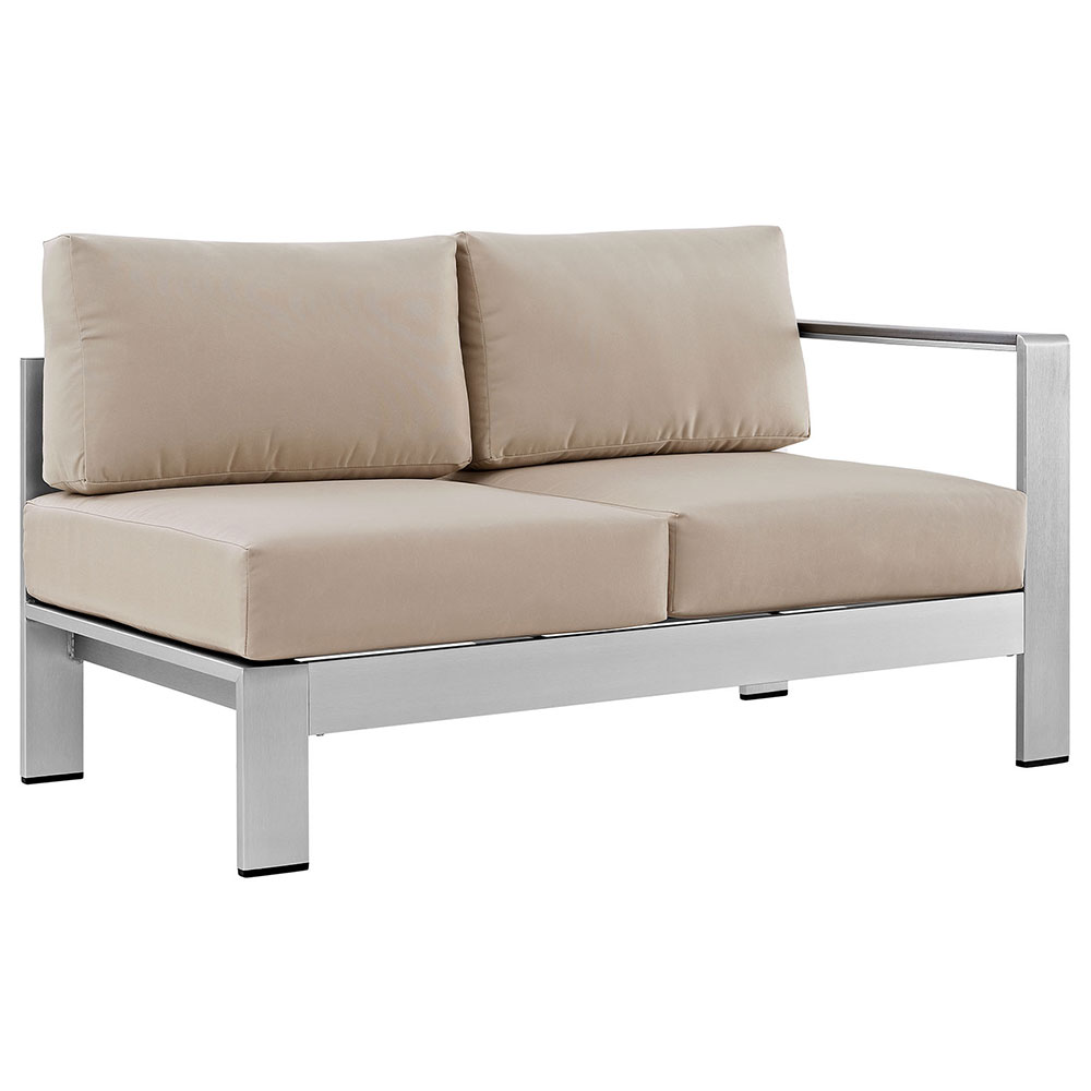 Sarasota Beige Modern Outdoor Right Arm Loveseat