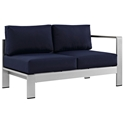 Sarasota Navy Modern Outdoor Right Arm Loveseat
