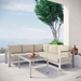 Sarasota Beige Contemporary Outdoor Sectional + Coffee Table