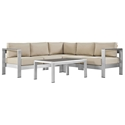 Sarasota Beige Modern Outdoor Sectional + Coffee Table