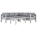 Sarasota Gray Modern Outdoor Sectional + Coffee Table
