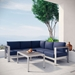 Sarasota Navy Contemporary Outdoor Sectional + Coffee Table