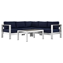 Sarasota Navy Modern Outdoor Sectional + Coffee Table