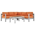 Sarasota Orange Modern Outdoor Sectional + Coffee Table