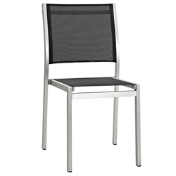 Sarasota Modern Outdoor Black Mesh Side Chair