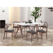 Satomi White + Walnut Contemporary Dining Table