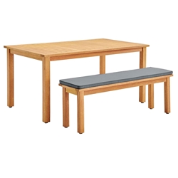Sausalito Modern Outdoor Dining Table + Bench Set