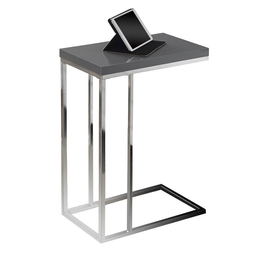 Savannah Modern Glossy Gray Accent Table