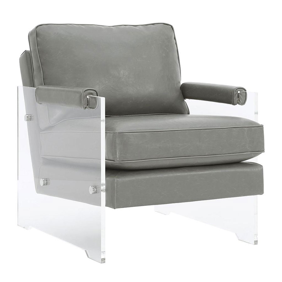 Call To Order · Saxony Clear Lucite + Gray Eco Leather Modern Chair