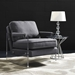 Saxony Contemporary Chair - Gray Linen w/ Lucite