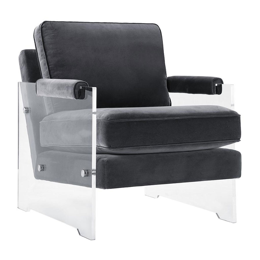 Saxony Clear Lucite + Gray Velvet Modern Chair