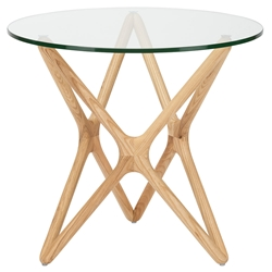 Schertz Contemporary Side Table - Raw Ash + Round Glass Top