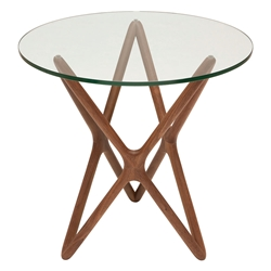 Star Contemporary Side Table - Walnut Stained Ash + Round Glass Top