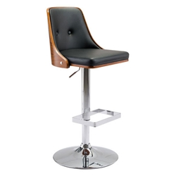 Scotty Black Faux Leather + Walnut Plywood + Chromed Metal Modern Adjustable Height Stool
