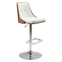 Scotty White Leatherette + Walnut Bent Plywood + Chrome Modern Adjustable Height Stool
