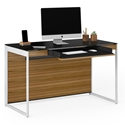 Sequel 20 Modern Compact Desk by BDI in Natural Walnut + Satin Nickel