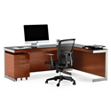 BDi Sequel Modern Cherry L-Desk Office Set With Satin Nickel Legs