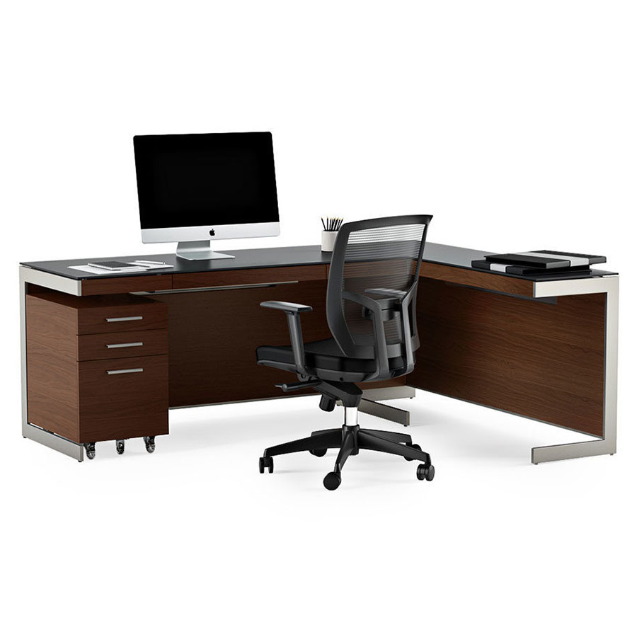 Call To Order · BDi Sequel Modern L Desk Set In Chocolate Stained Walnut  With Satin Nickel Legs