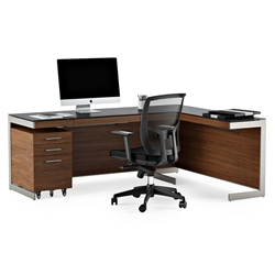 BDi Sequel Modern L-Desk Set In Natural Walnut With Satin Nickel Legs