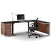 BDI Sequel Lift Contemporary Sit + Stand Desk in Chocolate Stained Walnut + Black Glass
