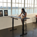 BDI Sequel Lift Modern Sit + Stand Desk in Natural Walnut + Micro Etched Black Glass