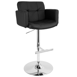 Sergio Modern Adjustable Stool in Black + Chrome