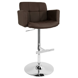 Sergio Modern Adjustable Stool in Brown + Chrome