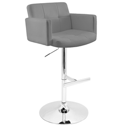 Sergio Modern Adjustable Stool in Gray + Chrome