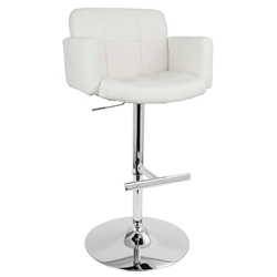 Sergio Modern Adjustable Stool in White + Chrome