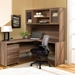 Series 100 Walnut Laminate Modern Desk + Credenza Storage Hutch