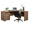 Series 100 Modern Associate Right Desk Set in Walnut Open Grain Laminate