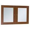 Series 100 Walnut Laminate + Clear Glass Modern Bookcase Doors