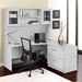 Series 100 White Laminate Modern Lateral File with Desk + Hutch