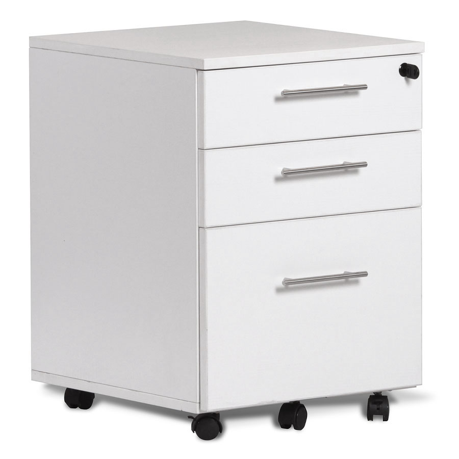 Series 100 Modern White Mobile File Pedestal