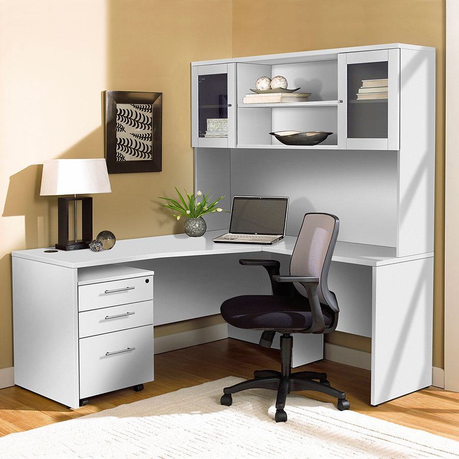 Series 100 White Modern Desk Return Right