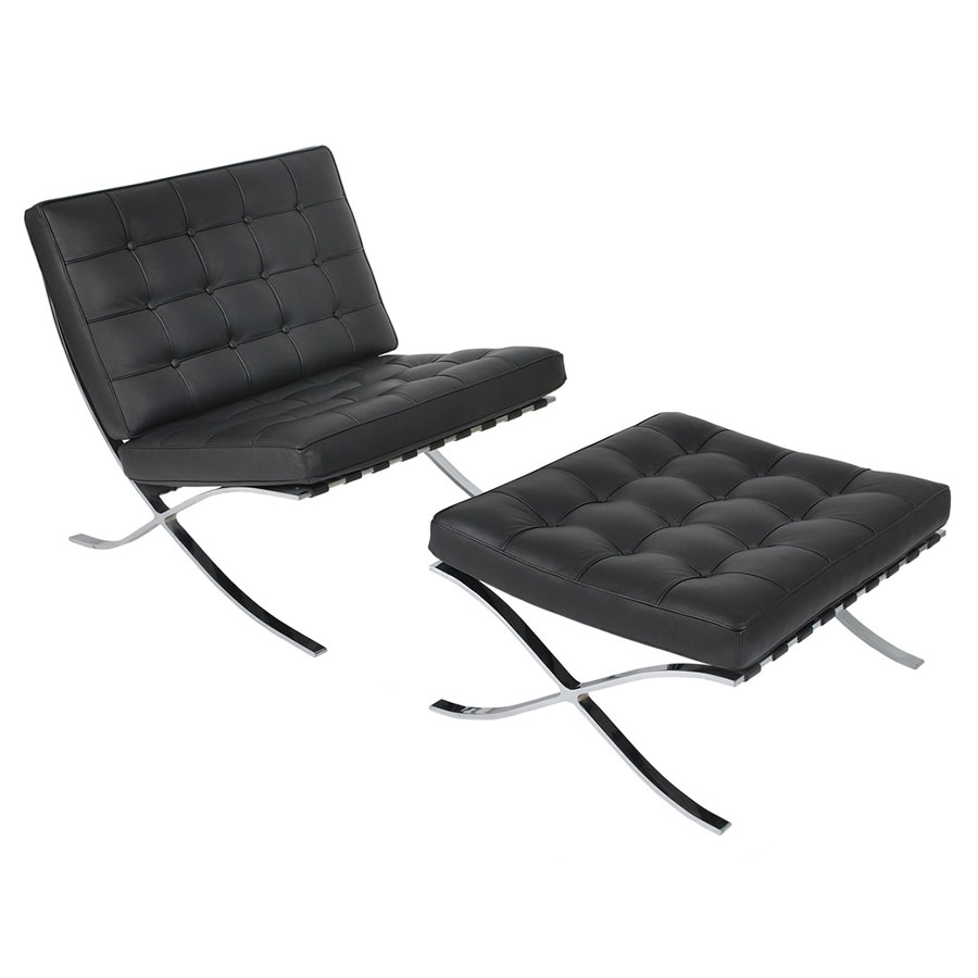 Black leather chair and ottoman -  Sevilla Modern Classic Chair In Black Leather