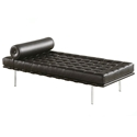 Sevilla Black Leather Modern Classic Daybed