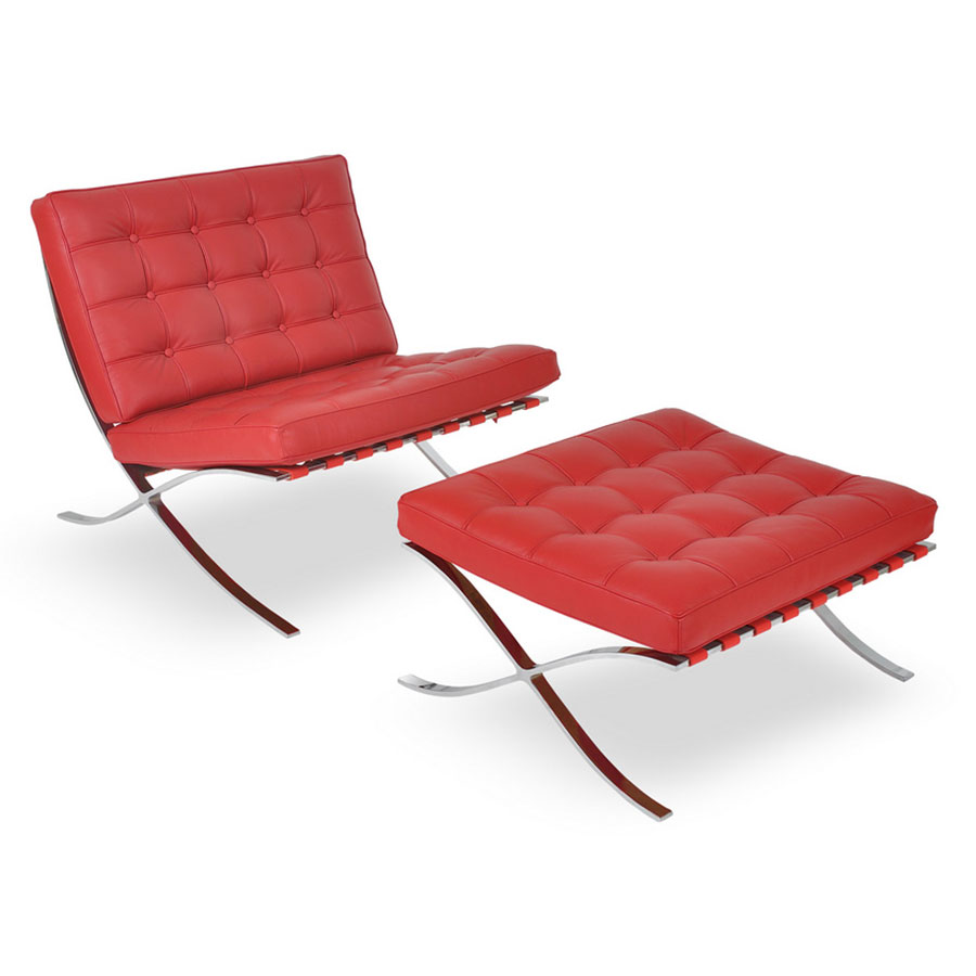 ... Sevilla Modern Classic Ottoman In Red Leather ...