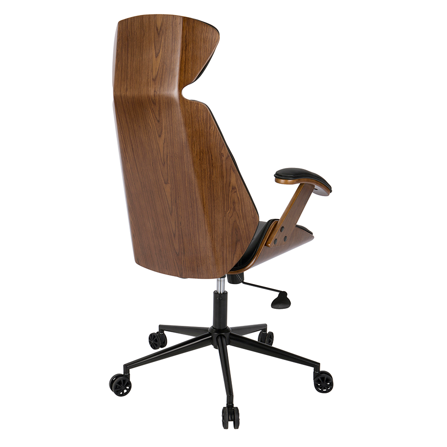 High Quality ... Shalom Black Leatherette + Walnut Contemporary Office Chair ...