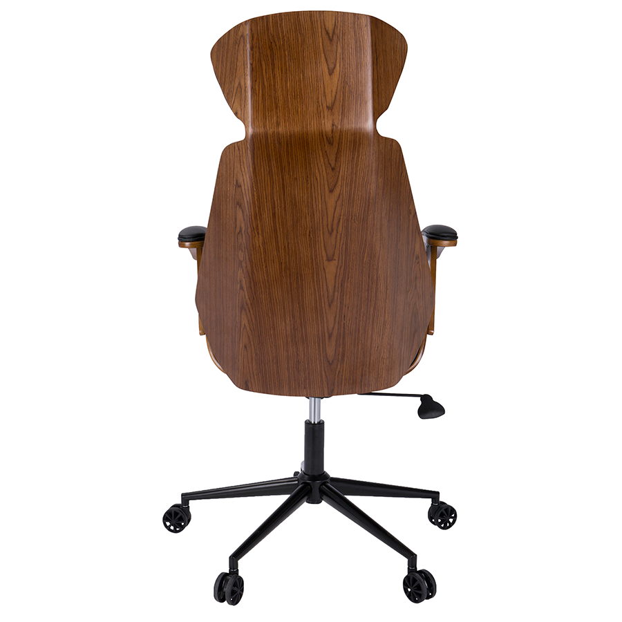 Awesome ... Shalom Black Leatherette + Walnut Wood Modern Executive Office Chair ...