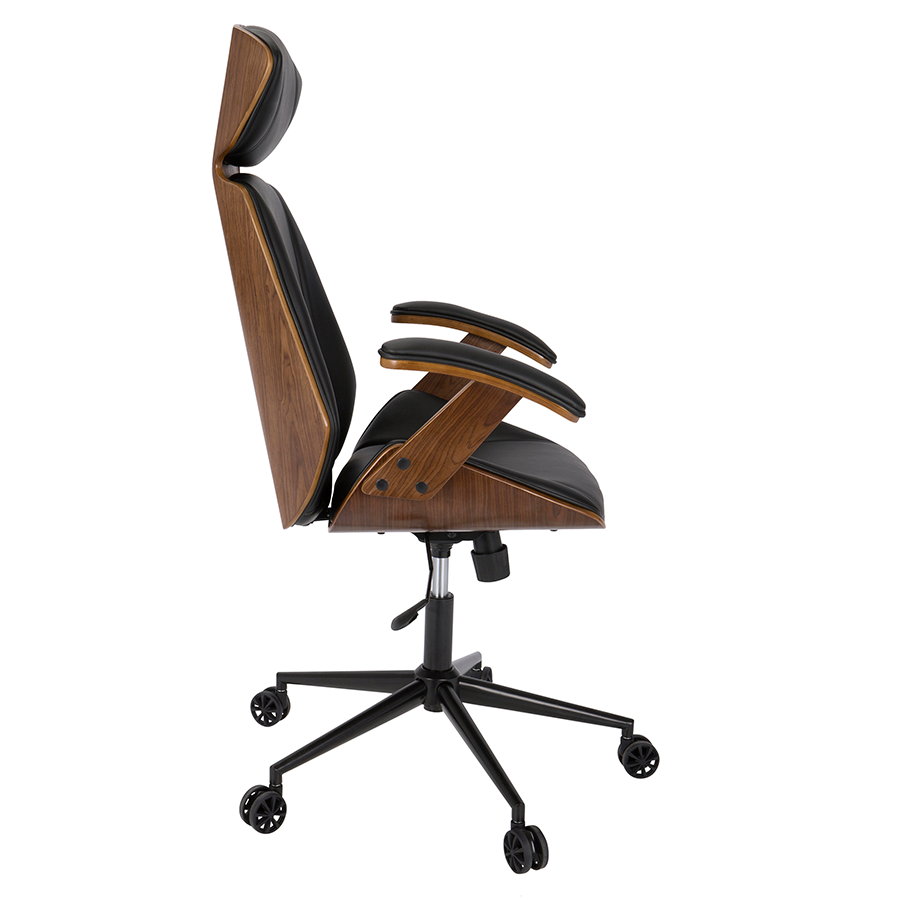 High Quality ... Shalom Black Leatherette + Walnut Modern Office Chair ...