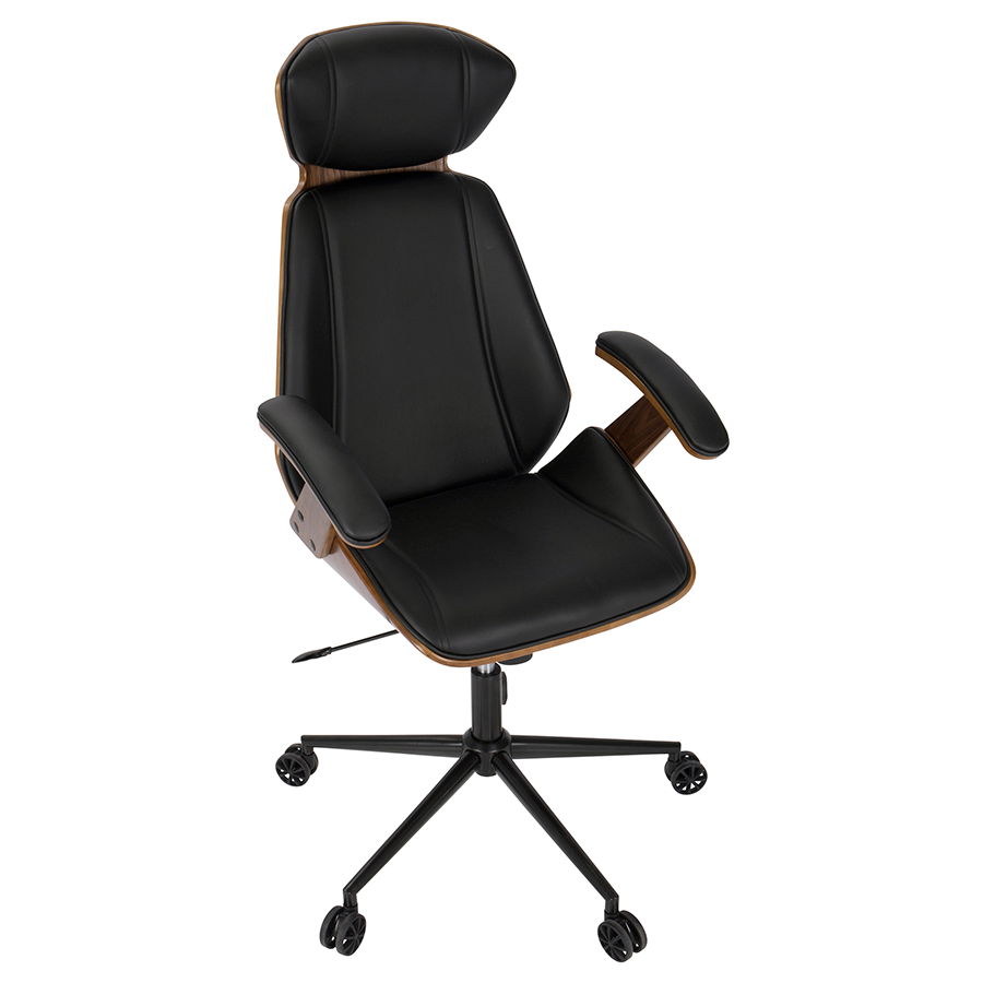 Captivating ... Shalom Black Leatherette + Walnut Wood Contemporary Executive Office  Chair