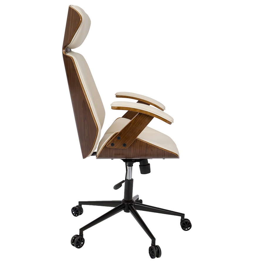 Wonderful ... Shalom Cream + Walnut Modern Office Chair ...
