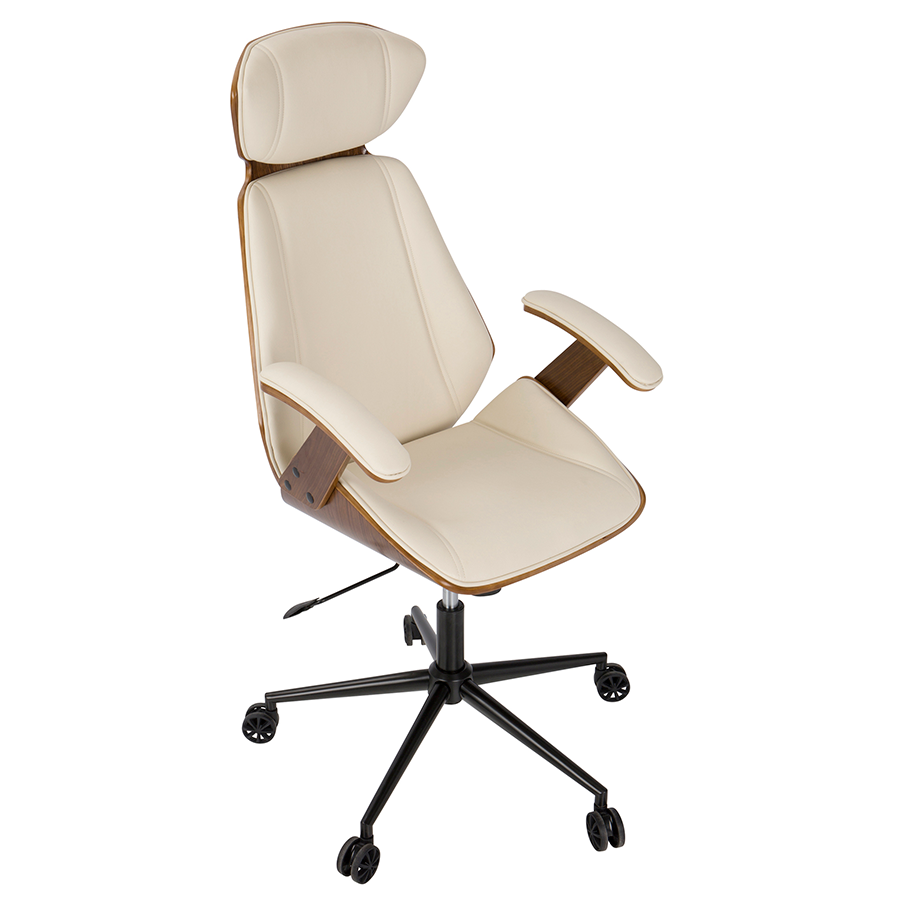 Superior ... Shalom Cream Leatherette + Walnut Contemporary Office Chair